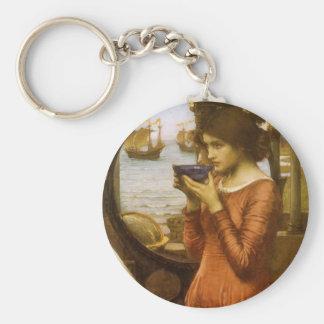 Vintage Victorian Art, Destiny by JW Waterhouse Keychain