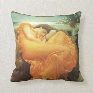 Vintage Victorian Art, Flaming June by Leighton Throw Pillow