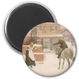 Vintage Victorian Art, Greeting Postman by Macbeth 2 Inch Round Magnet