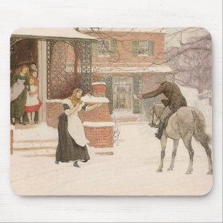 Vintage Victorian Art, Greeting Postman by Macbeth Mouse Pad
