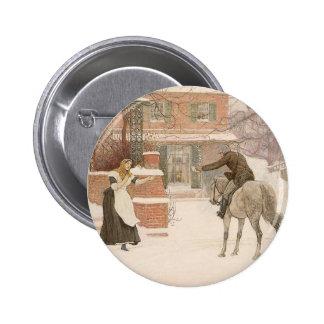 Vintage Victorian Art, Greeting Postman by Macbeth Pinback Button