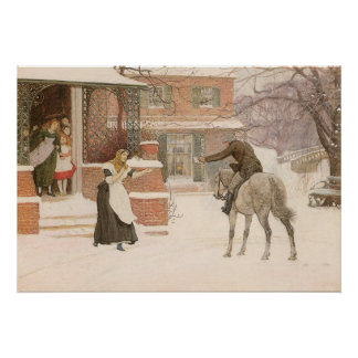 Vintage Victorian Art, Greeting Postman by Macbeth Poster
