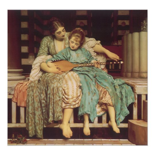 Vintage Victorian Art, Music Lesson by Leighton Poster