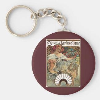 Vintage Victorian Art Nouveau by Alphonse Mucha Basic Round Button Keychain
