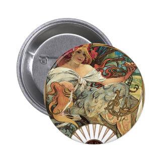 Vintage Victorian Art Nouveau by Alphonse Mucha Pinback Button
