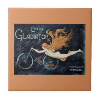 Vintage Victorian Art Nouveau, Gladiator Cycles Ceramic Tile