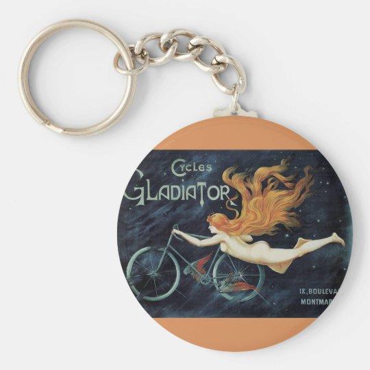 Vintage Victorian Art Nouveau, Gladiator Cycles Keychain