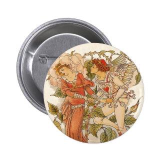 Vintage Victorian Art, Rose by Walter Crane 2 Inch Round Button