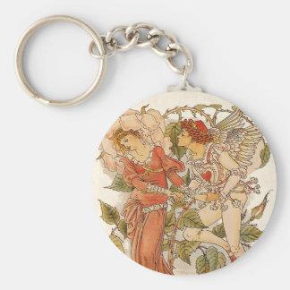 Vintage Victorian Art, Rose by Walter Crane Keychain