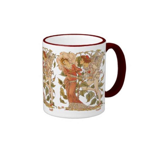 Vintage Victorian Art, Rose by Walter Crane Ringer Mug