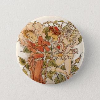 Vintage Victorian Art, Rose by Walter Crane Pinback Button