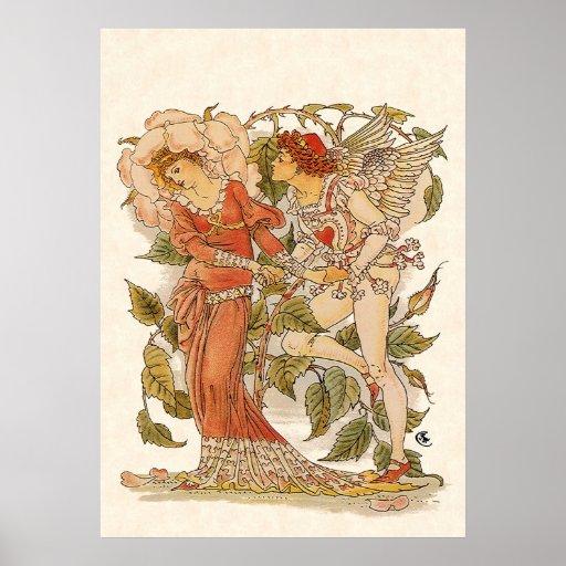 Vintage Victorian Art, Rose by Walter Crane Poster