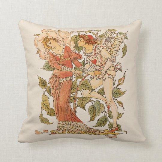 Vintage Victorian Art, Rose by Walter Crane Throw Pillow
