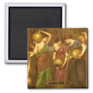 Vintage Victorian Art, The Danaides by Waterhouse 2 Inch Square Magnet