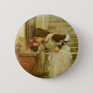 Vintage Victorian Art, The Shrine by JW Waterhouse Button