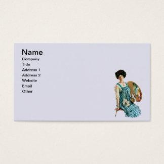 Vintage Victorian Artist Lady Painter Palette Business Card