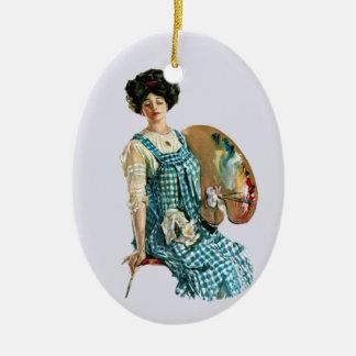 Vintage Victorian Artist Lady Painter Palette Ceramic Ornament