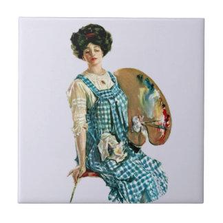 Vintage Victorian Artist Lady Painter Palette Ceramic Tile