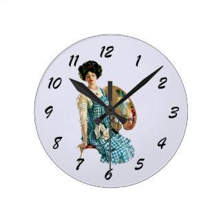 Vintage Victorian Artist Lady Painter Palette Round Wall Clock