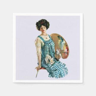 Vintage Victorian Artist Lady Painter Palette Napkin