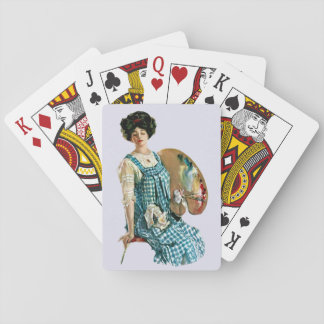 Vintage Victorian Artist Lady Painter Palette Playing Cards