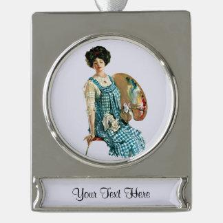 Vintage Victorian Artist Lady Painter Palette Silver Plated Banner Ornament