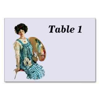 Vintage Victorian Artist Lady Painter Palette Table Cards