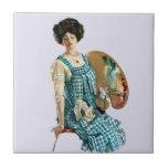 Vintage Victorian Artist Lady Painter Palette Tiles