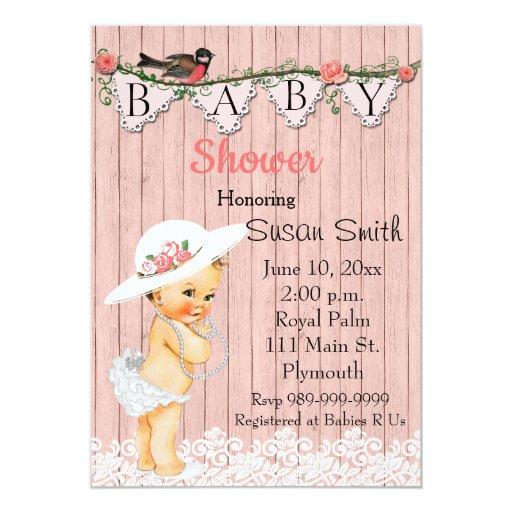 Baby Shower Invitations Girl Vintage ~ Vintage victorian baby girl shower invitation zazzle