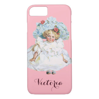 Vintage Victorian Baby Girl Doll, Easter Dress Hat iPhone 7 Case