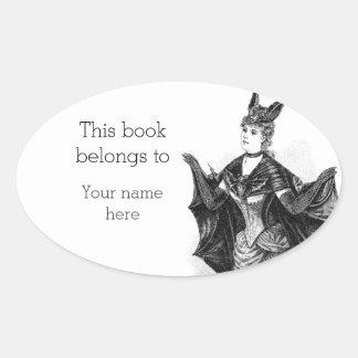 Vintage victorian bat woman bookplate