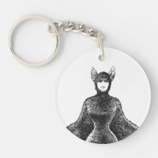Vintage victorian bat woman charm Double-Sided round acrylic keychain