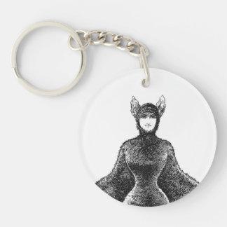 Vintage victorian bat woman charm keychain
