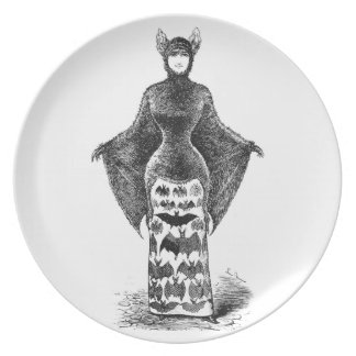 Vintage victorian bat woman plate