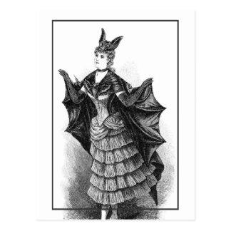 Vintage victorian bat woman postcard