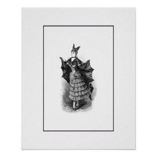 Vintage victorian bat woman print