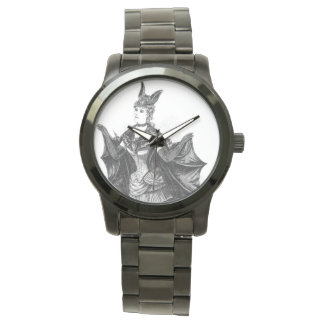 Vintage victorian bat woman watch