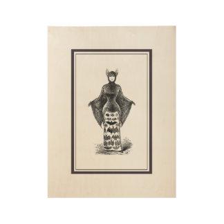 Vintage victorian bat woman wood poster