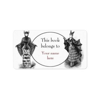 Vintage victorian bat women bookplate