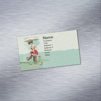Vintage Victorian Bathing Beauty Lady Ocean Business Card Magnet
