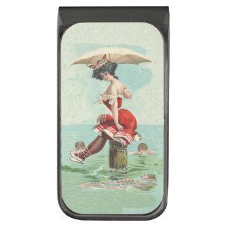 Vintage Victorian Bathing Beauty Lady Ocean Gunmetal Finish Money Clip
