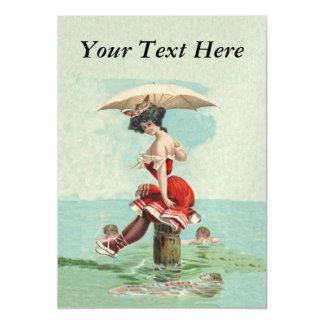 Vintage Victorian Bathing Beauty Lady Ocean Magnetic Card