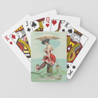 Vintage Victorian Bathing Beauty Lady Ocean Playing Cards