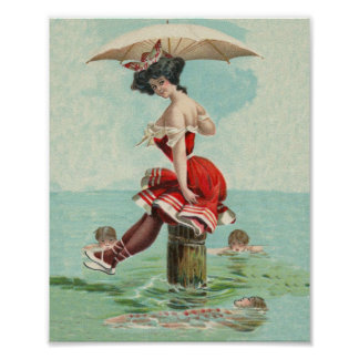 Vintage Victorian Bathing Beauty Lady Ocean Poster