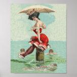 Vintage Victorian Bathing Beauty Lady Ocean Print
