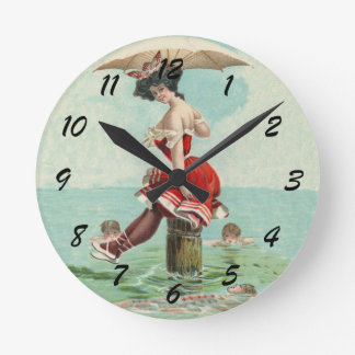 Vintage Victorian Bathing Beauty Lady Ocean Round Clock