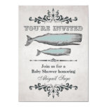 Vintage Victorian Beach Whale Baby Shower 4.5x6.25 Paper Invitation Card