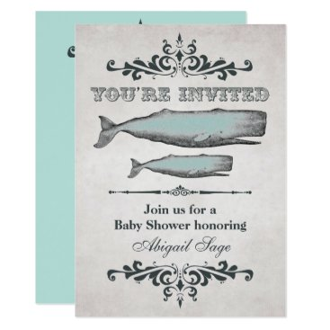 Beach Themed Vintage Victorian Beach Whale Baby Shower Invite