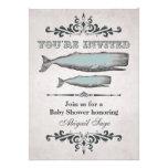 Vintage Victorian Beach Whale Baby Shower Invite