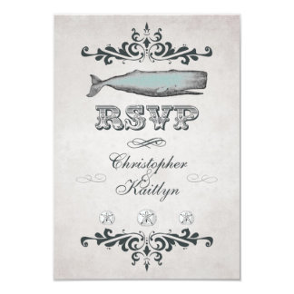 Vintage Victorian Beach Whale Wedding RSVP Card